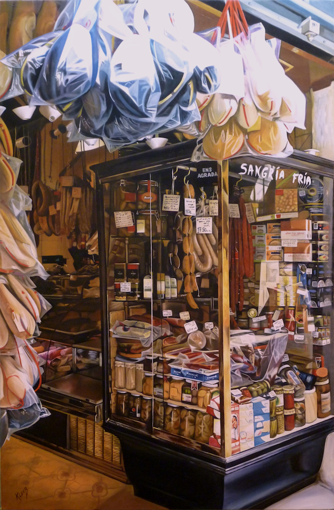 "The Spanish Market, 40""x29"", oil/acrylic on canvas"